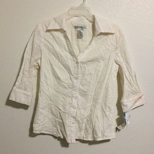 Nine West NWT Cream Eyelet Button Up Blouse Shirt